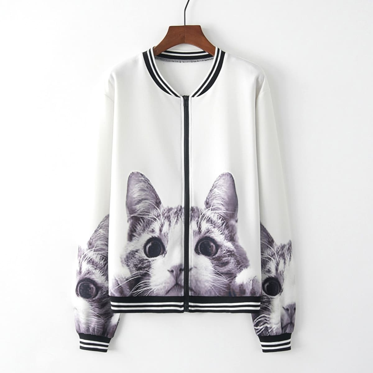 Contrast Striped Cat Print Zip Up Baseball Jacket