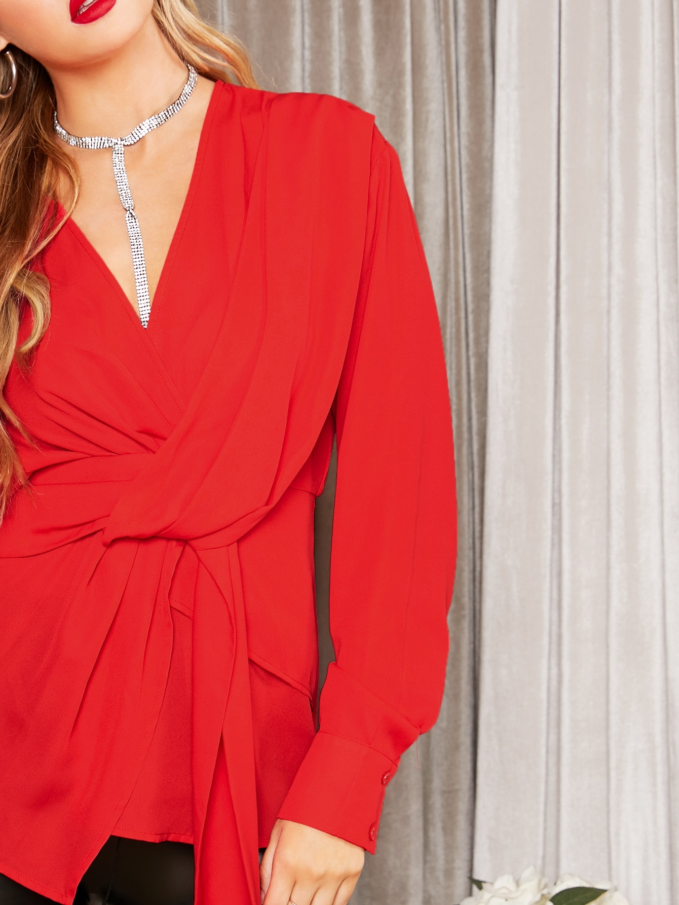 Solid Twist Front Draped Top