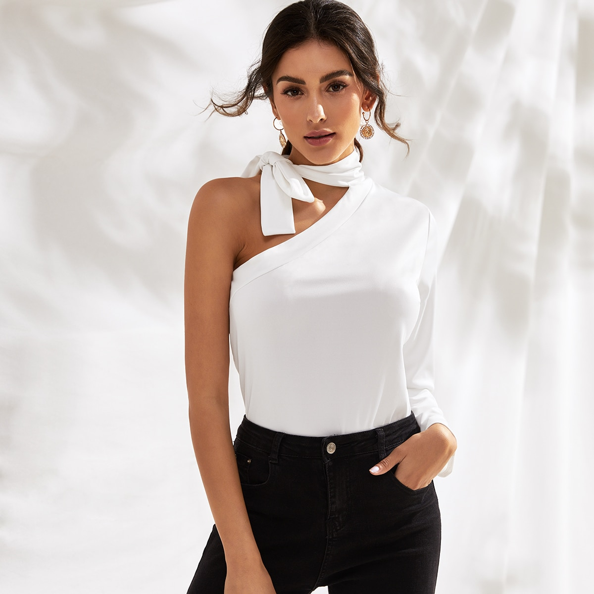 Tie Neck One Shoulder Solid Tee