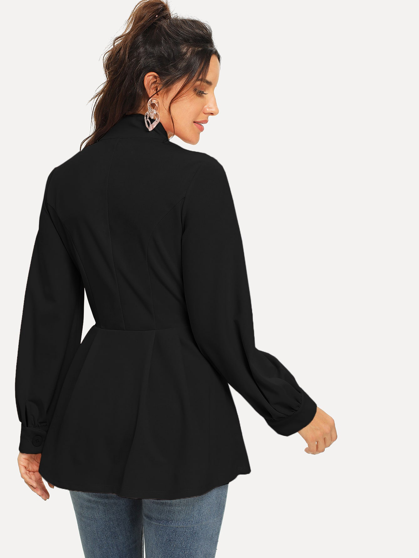 Button Front Pleated Peplum Coat