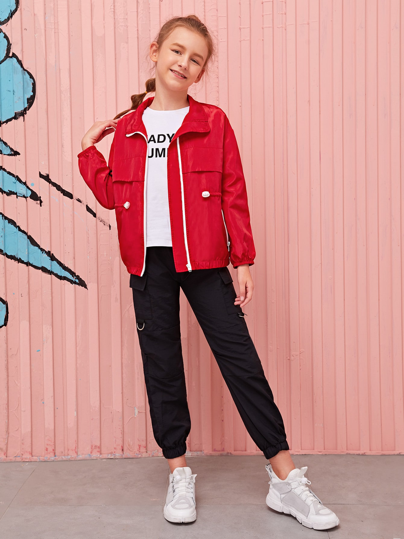 Girls Drawstring Waist Zip Up Jacket
