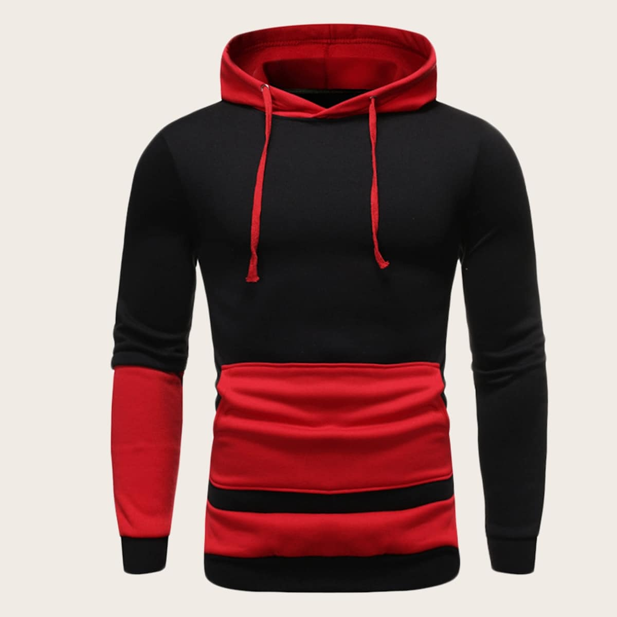 Men Cut And Sew Drawstring Hooded Sweatshirt