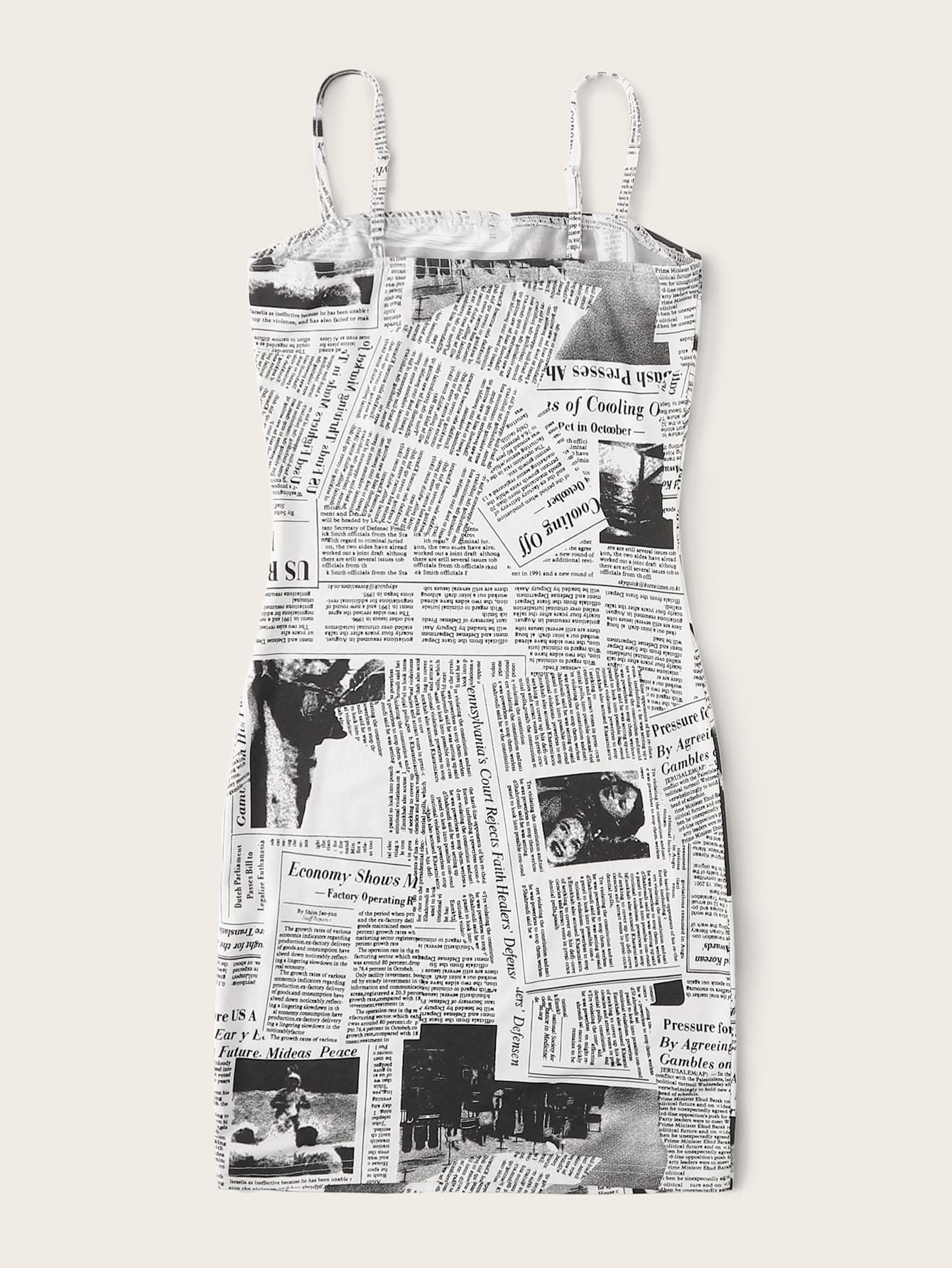 Newspaper Print Bodycon Slip Dress