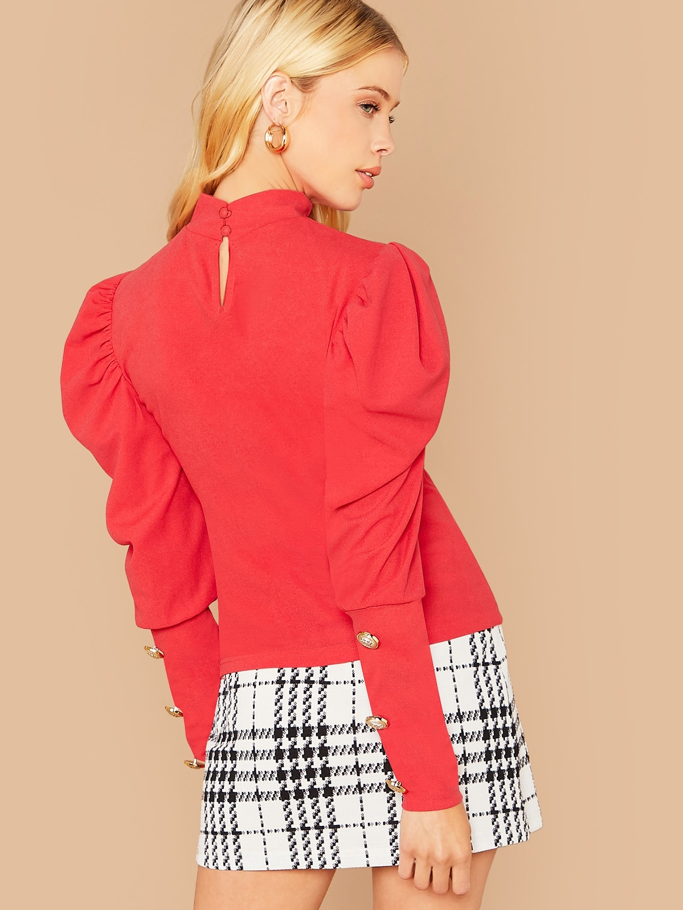 High Neck Gigot Sleeve Button Detail Top
