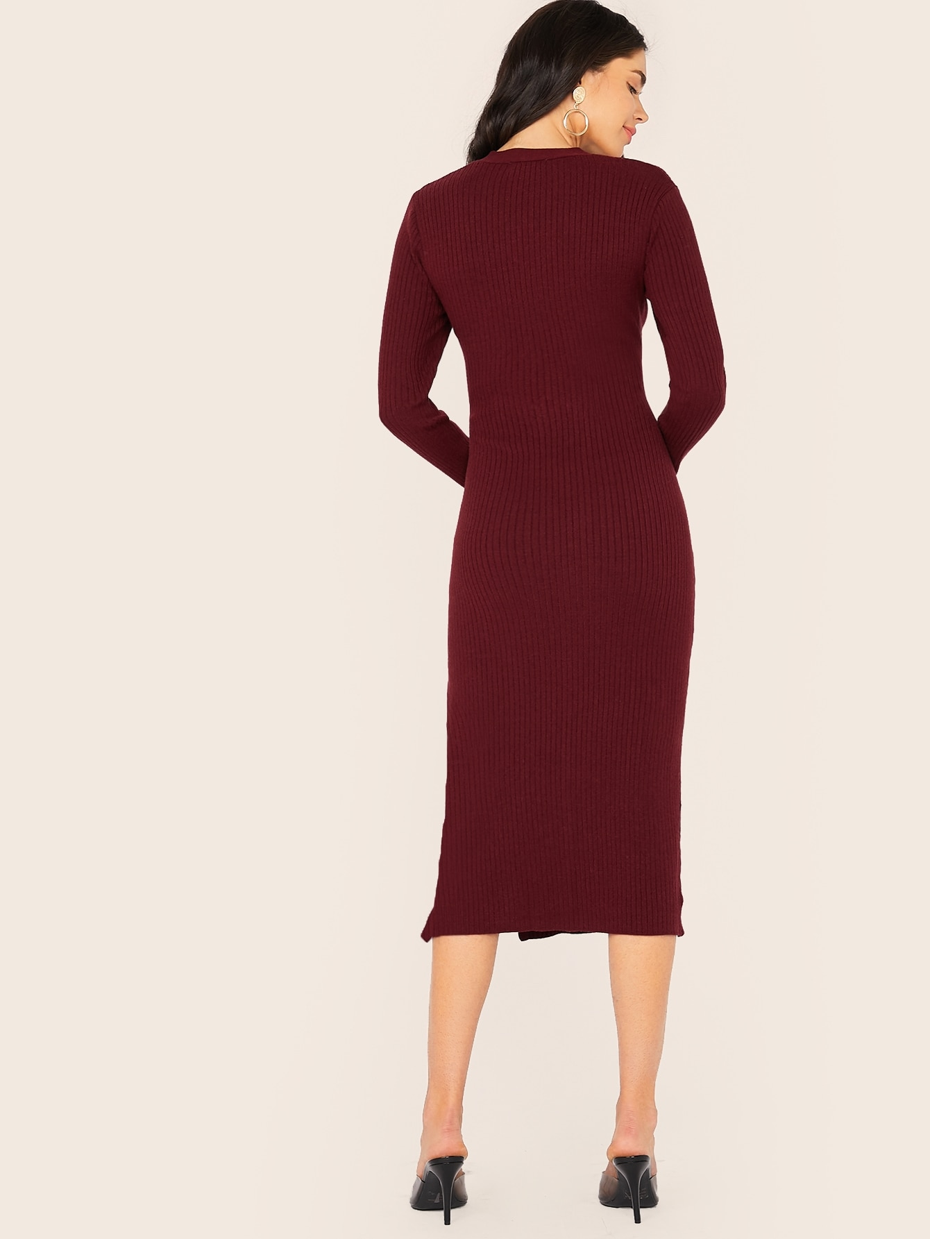 Button Detail Split Hem Sweater Dress