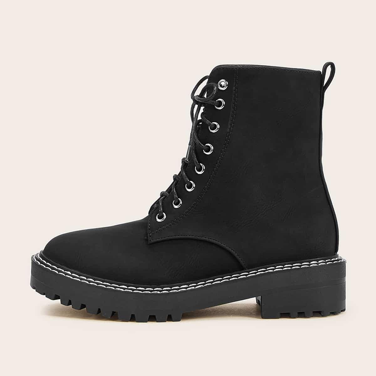 Lace-up Front Lug Sole Combat Boots