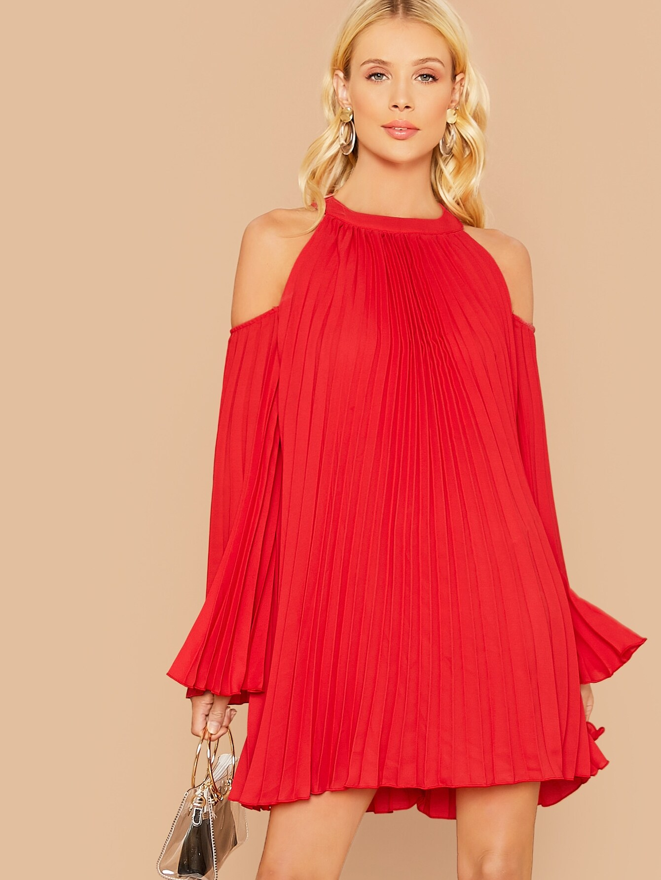 Cold Shoulder Pleated Swing Dress