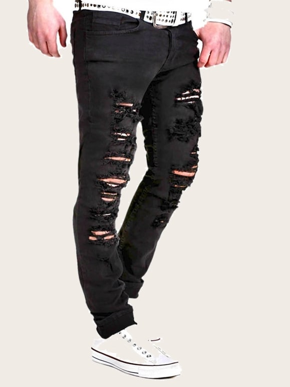 Men Ripped Jeans Without Belted