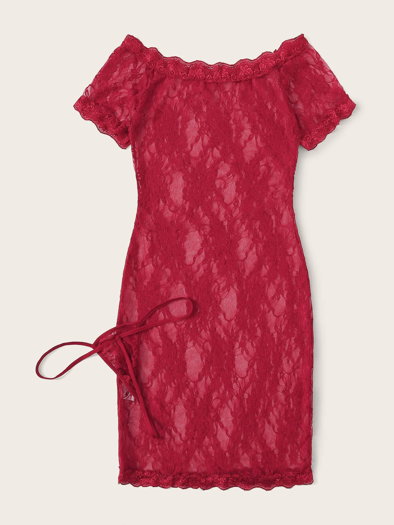 Floral Lace Bardot Dress With Thong