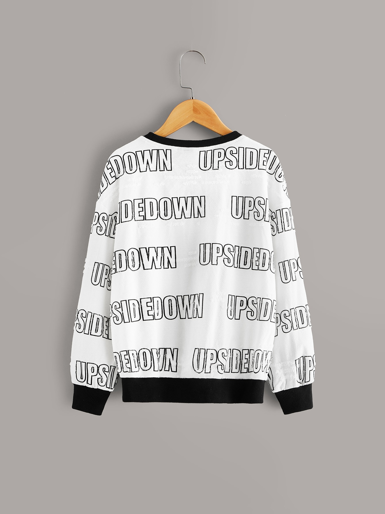 Girls Letter Print Fuzzy Pullover