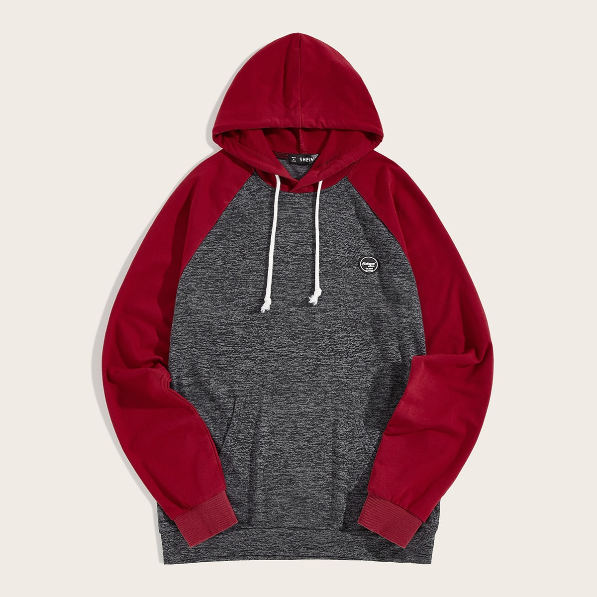 Men Patched Detail Two Tone Raglan Sleeve Hoodie