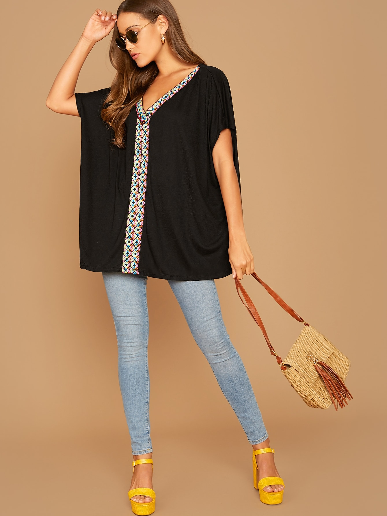 V-neck Embroidered Tape Front Top