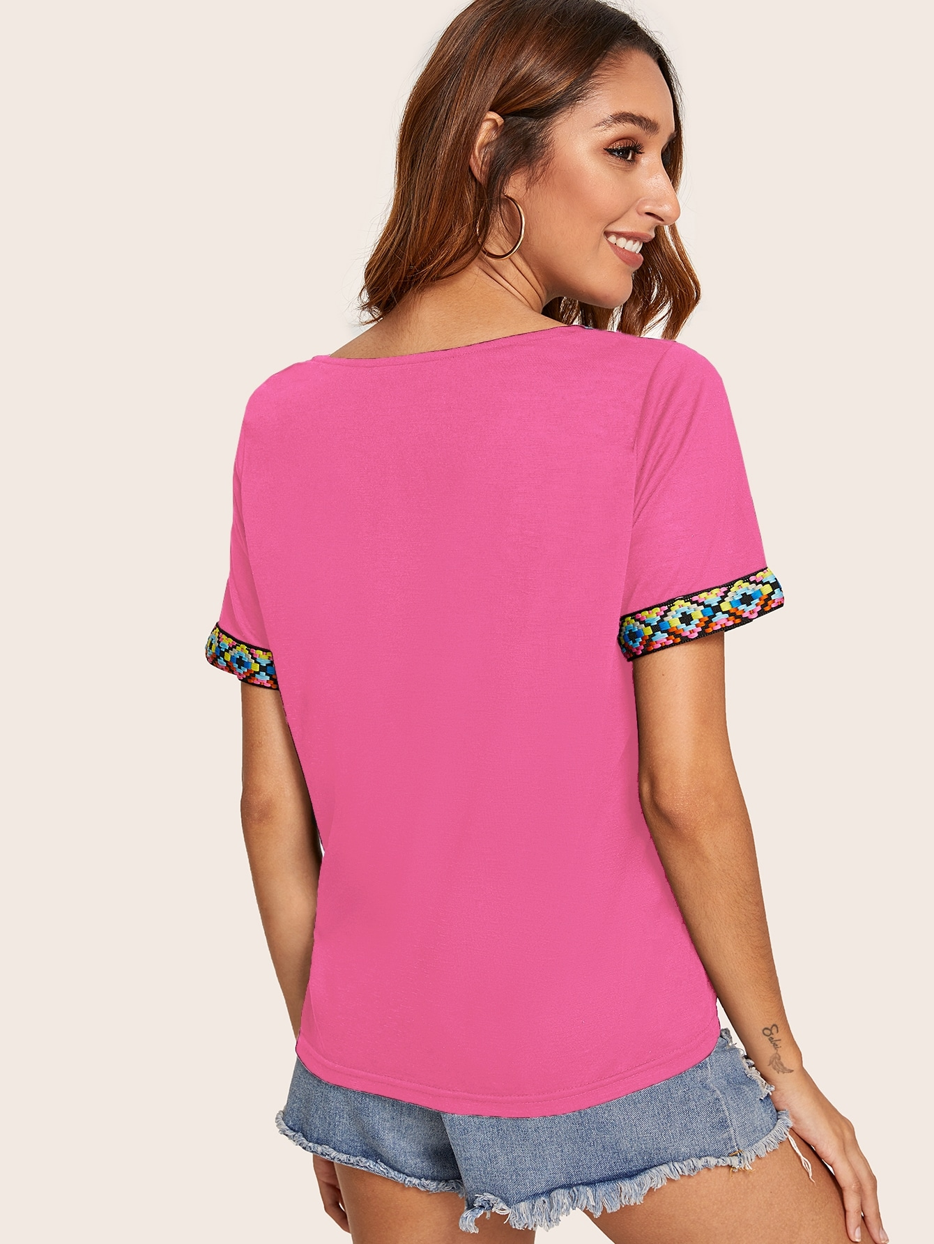 Contrast Tape Neck and Cuff Top