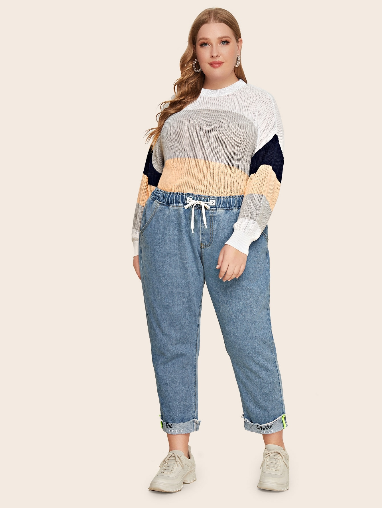 Plus Drawstring Waist Letter Embroidery Jeans
